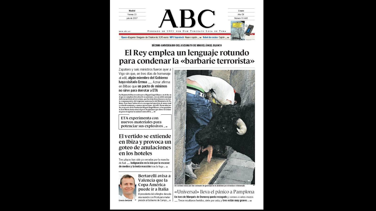 La tragedia de Miguel Ángel Blanco, en las portadas de ABC - ABC ...